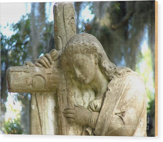 Leaning On The Cross Wood Print