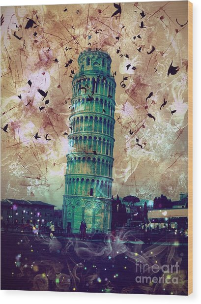 Leaning Tower Of Pisa 1 Wood Print