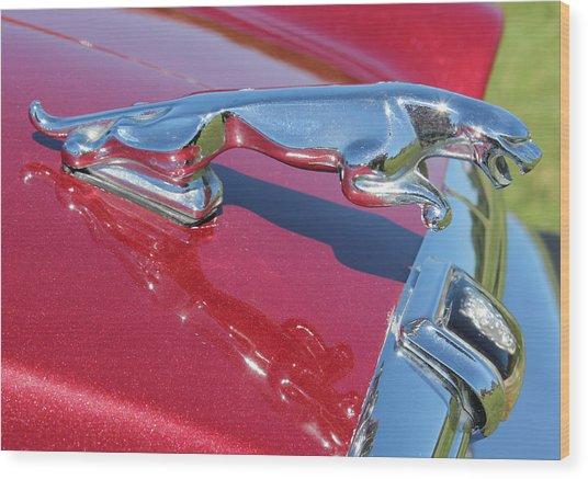 Leaper Hood Ornament On Red Jaguar Wood Print by Mark Steven Burhart