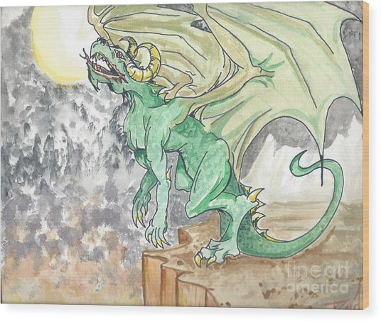 Leaping Dragon Wood Print