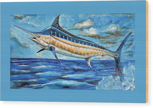 Leaping Marlin Wood Print