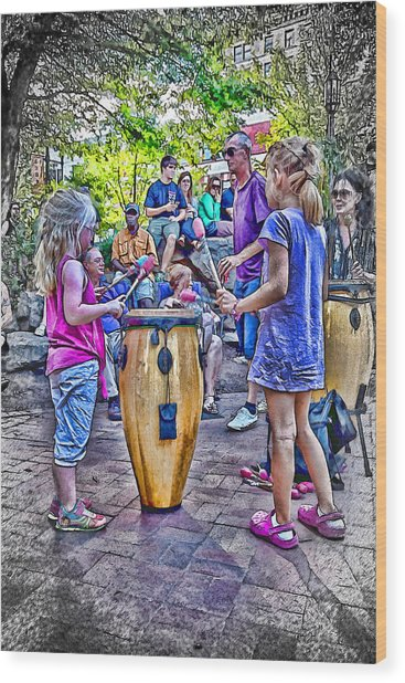 Learning The Drums Young Wood Print by John Haldane
