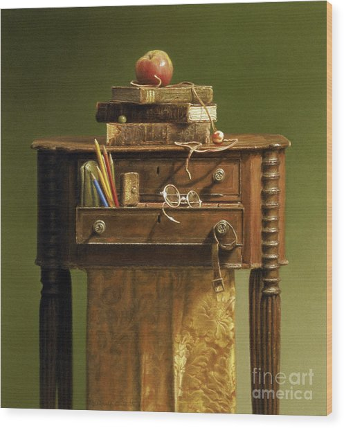 Leather Bound Wood Print by Barbara Groff