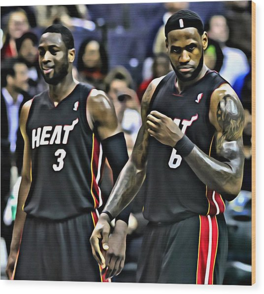 Lebron James And Dwyane Wade Wood Print