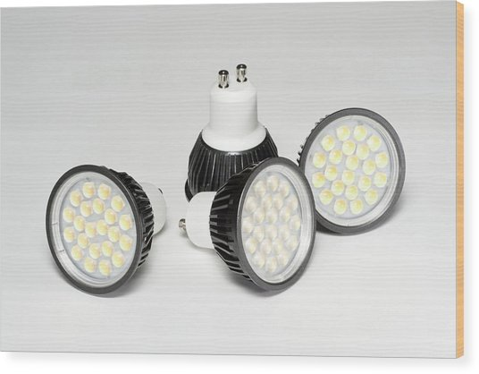 Led Light Bulbs Wood Print by Science Photo Library