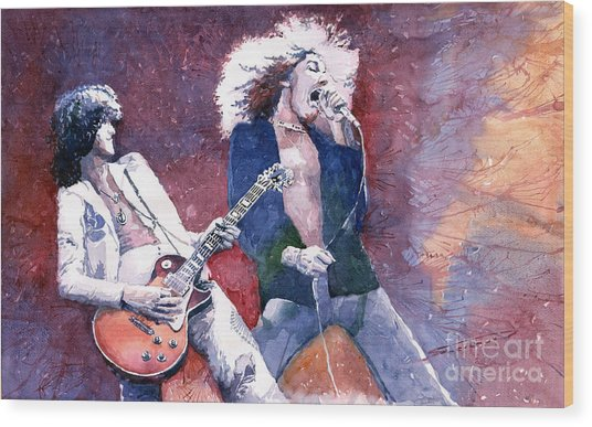 Led Zeppelin Jimmi Page And Robert Plant  Wood Print