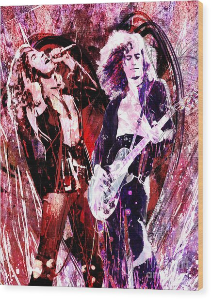Led Zeppelin - Jimmy Page And Robert Plant Wood Print