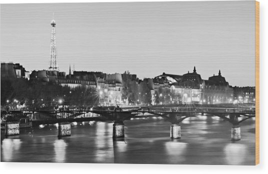 Wood Print featuring the photograph Left Bank At Night / Paris by Barry O Carroll