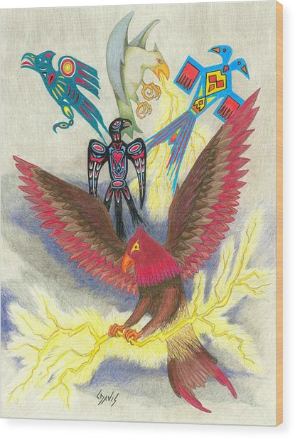 Legend Of The Thunderbird Wood Print