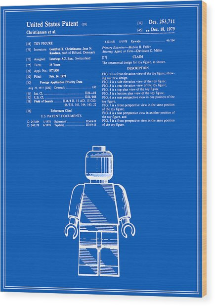 Lego man patent blueprint version one digital art by finlay mcnevin lego man patent blueprint version one wood print by finlay mcnevin malvernweather Images