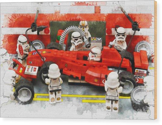 Lego Pit Stop Wood Print