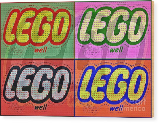 Lego Pop Art Wood Print by Scott Allison