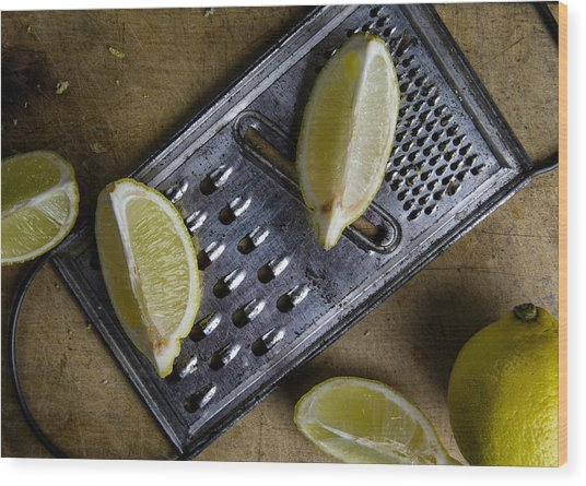 Lemon And Grater Wood Print
