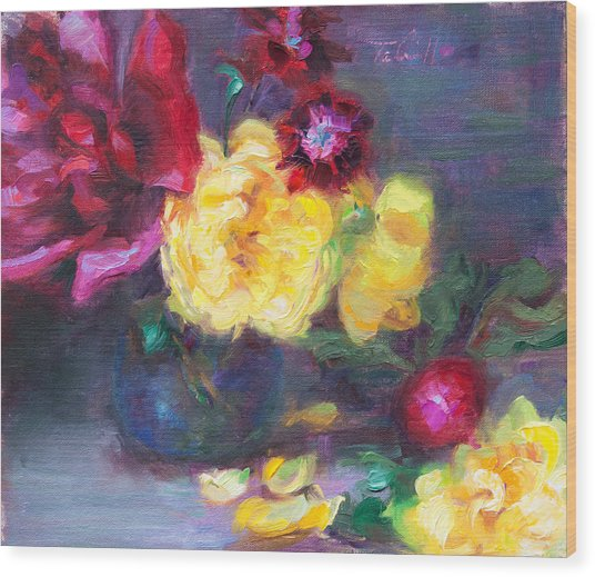 Lemon And Magenta - Flowers And Radish Wood Print