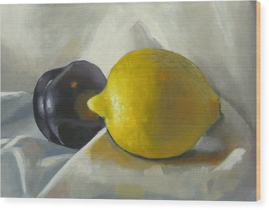 Lemon And Plum Wood Print by Peter Orrock