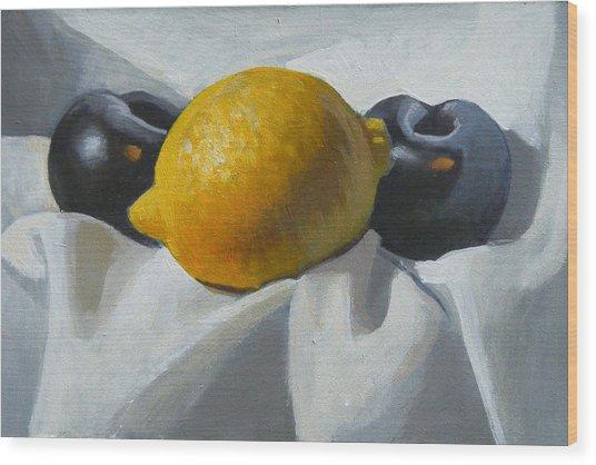 Lemon And Plums Wood Print by Peter Orrock