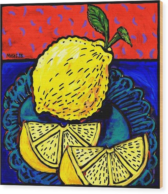 Lemon And Two Slices Wood Print