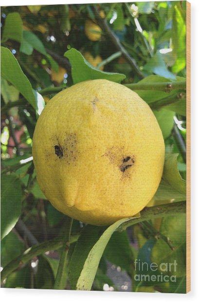 Lemon Face Wood Print