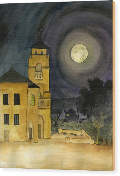 Lemon Grove Church By Full Moon Wood Print
