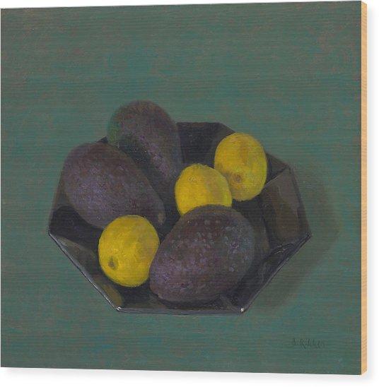 Lemons And Avocados Wood Print by Ben Rikken