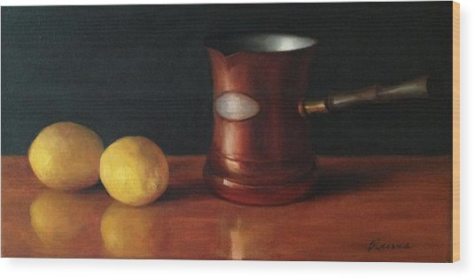 Lemons And Copper Wood Print