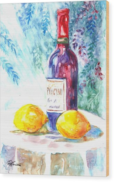 Lemons And Wine And A Little Sunshine Wood Print
