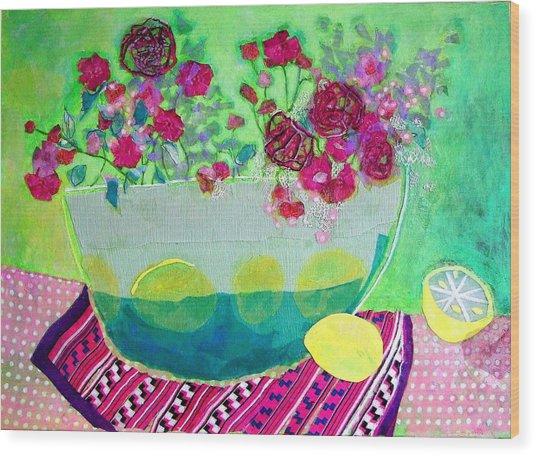 Lemons Wood Print by Diane Fine