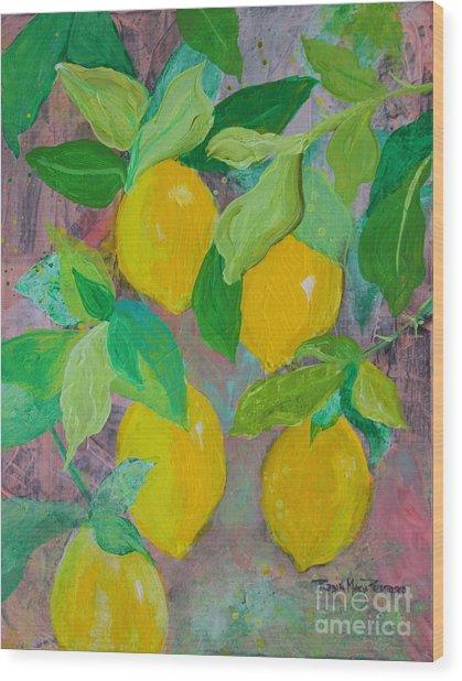 Lemons On Lemon Tree Wood Print