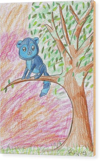 Lemur At Home Wood Print by Raquel Chaupiz