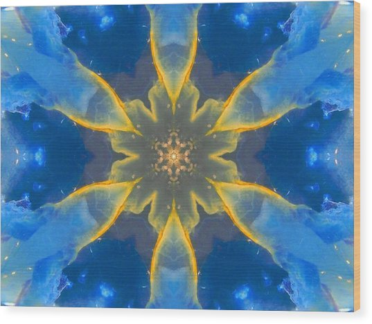 Lemurian Aquatine Calcite Mandala Wood Print