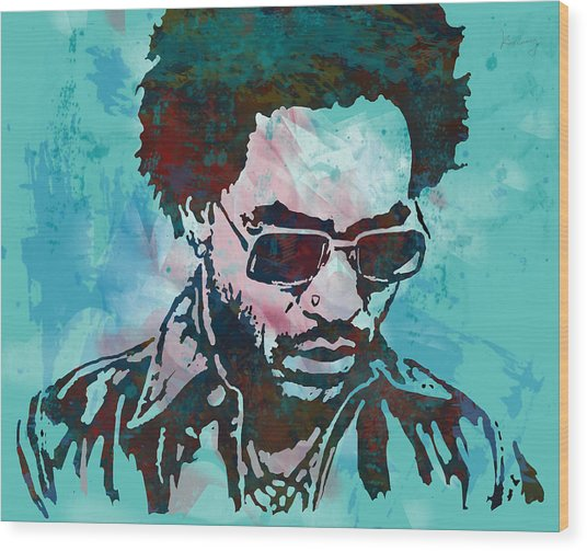 Lenny Kravitz - Stylised Etching Pop Art Poster Wood Print by Kim Wang