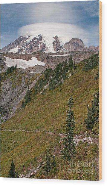Lenticular Cloud Atop Mt Rainier Wood Print
