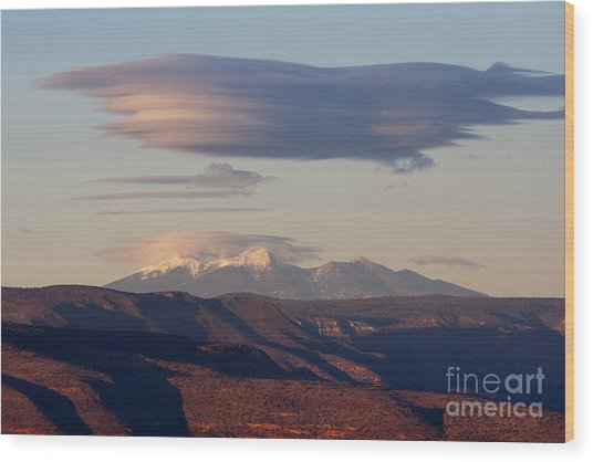 Lenticular Cloud Hovers Over The San Francisco Peaks Of Flagstaff Arizona Wood Print