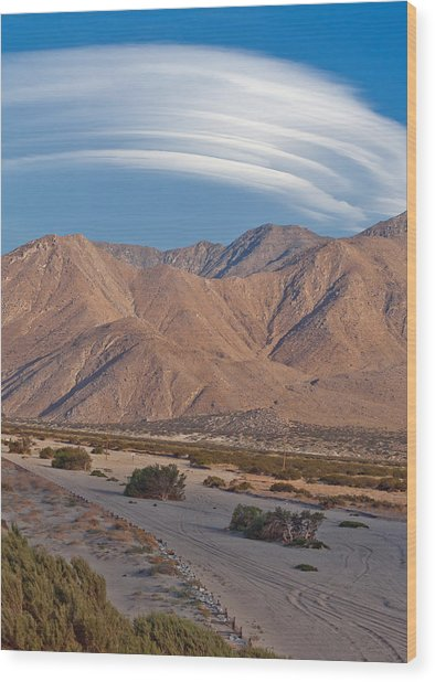 Lenticular Cloud Over Palm Springs Wood Print