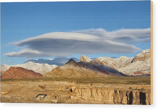 Lenticular Cloud Red Rock Canyon Wood Print