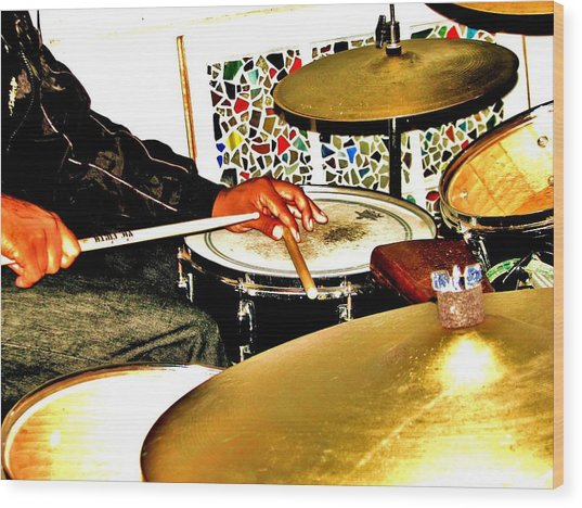 Leo Drumming Wood Print by Cleaster Cotton