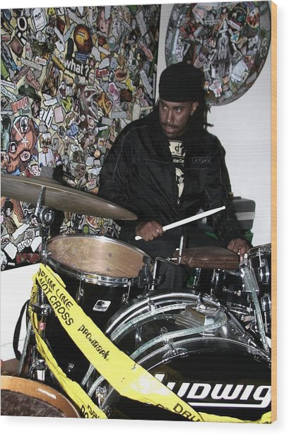 Leo Fierce On Drums Wood Print by Cleaster Cotton
