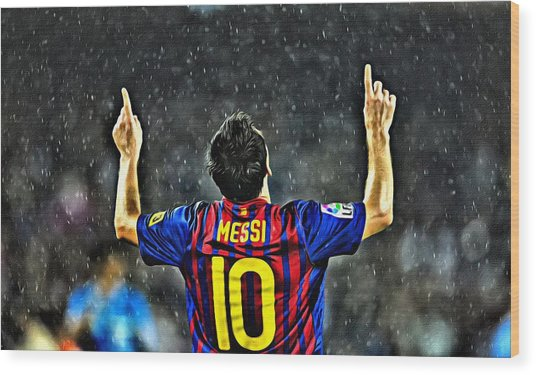 Leo Messi Poster Art Wood Print