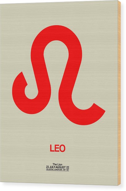 Leo Zodiac Sign Red Wood Print