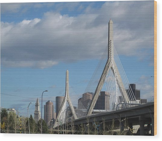 Leonard P Zakim Bridge Wood Print