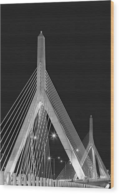 Leonard P. Zakim Bunker Hill Memorial Bridge Bw II Wood Print