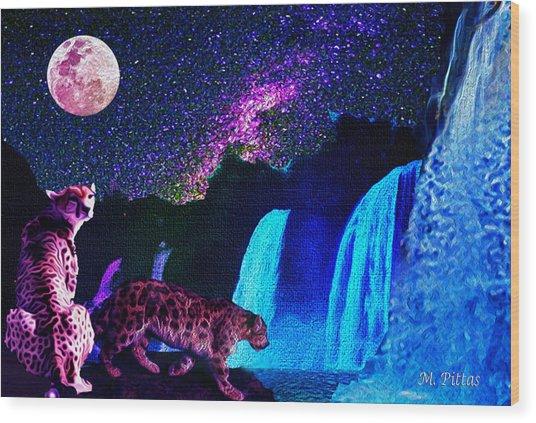 Leopard/chetah  In The Moonlight Wood Print