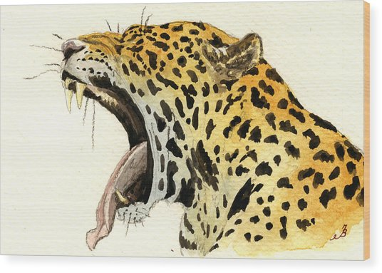 Leopard Head Wood Print