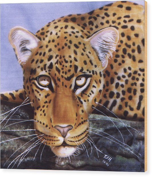 Leopard In A Tree Wood Print