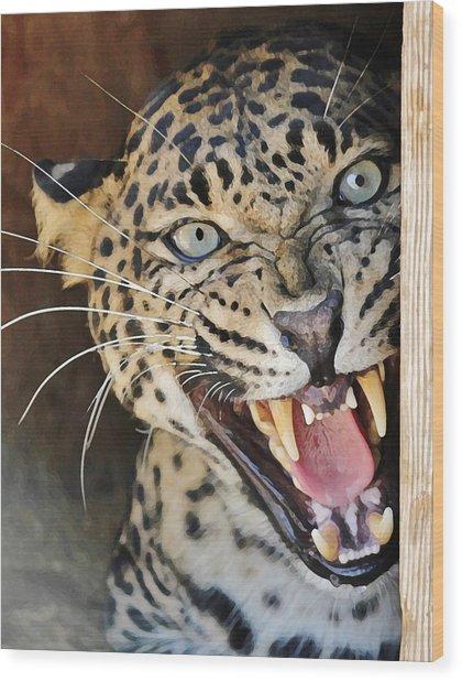 Leopard Snarling Wood Print
