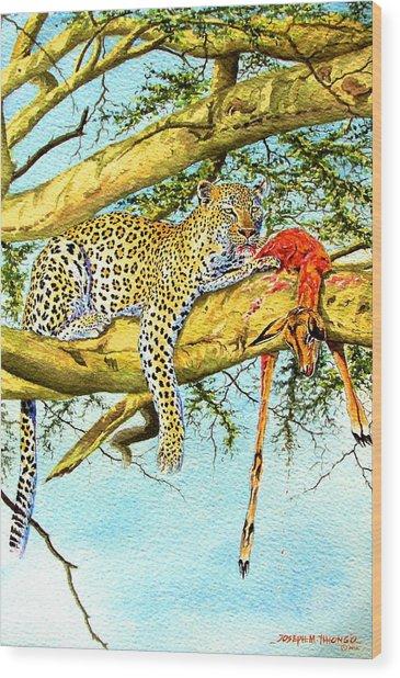 Leopard With A Kill Wood Print