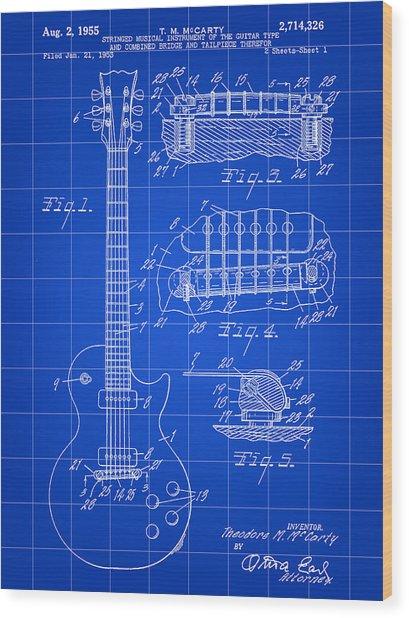 Les Paul Guitar Patent 1953 - Blue Wood Print