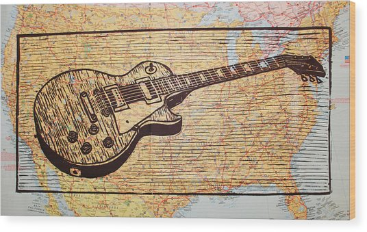Les Paul On Usa Map Wood Print