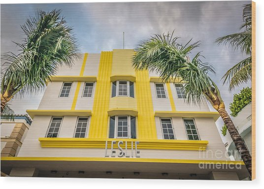 Leslie Hotel South Beach Miami Art Deco Detail - Hdr Style Wood Print by Ian Monk
