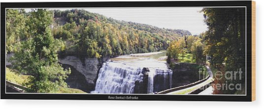 Wood Print featuring the photograph Letchworth State Park Middle Falls Panorama by Rose Santuci-Sofranko